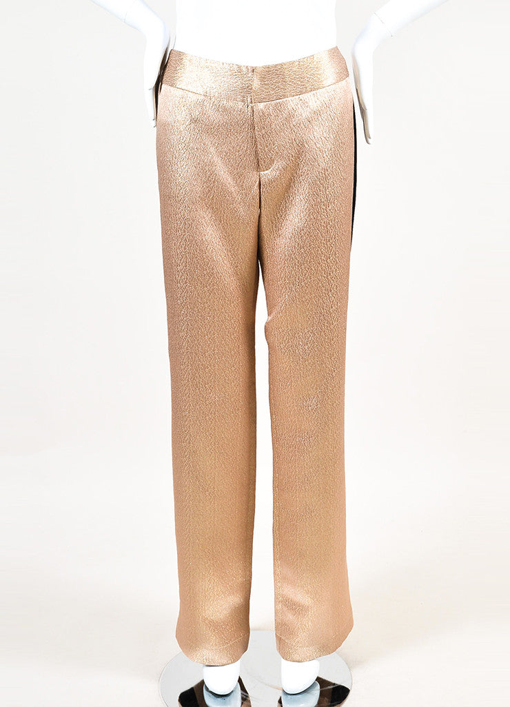 10 Crosby Derek Lam Nude and Metallic Gold Black Straight Leg Trousers Frontview