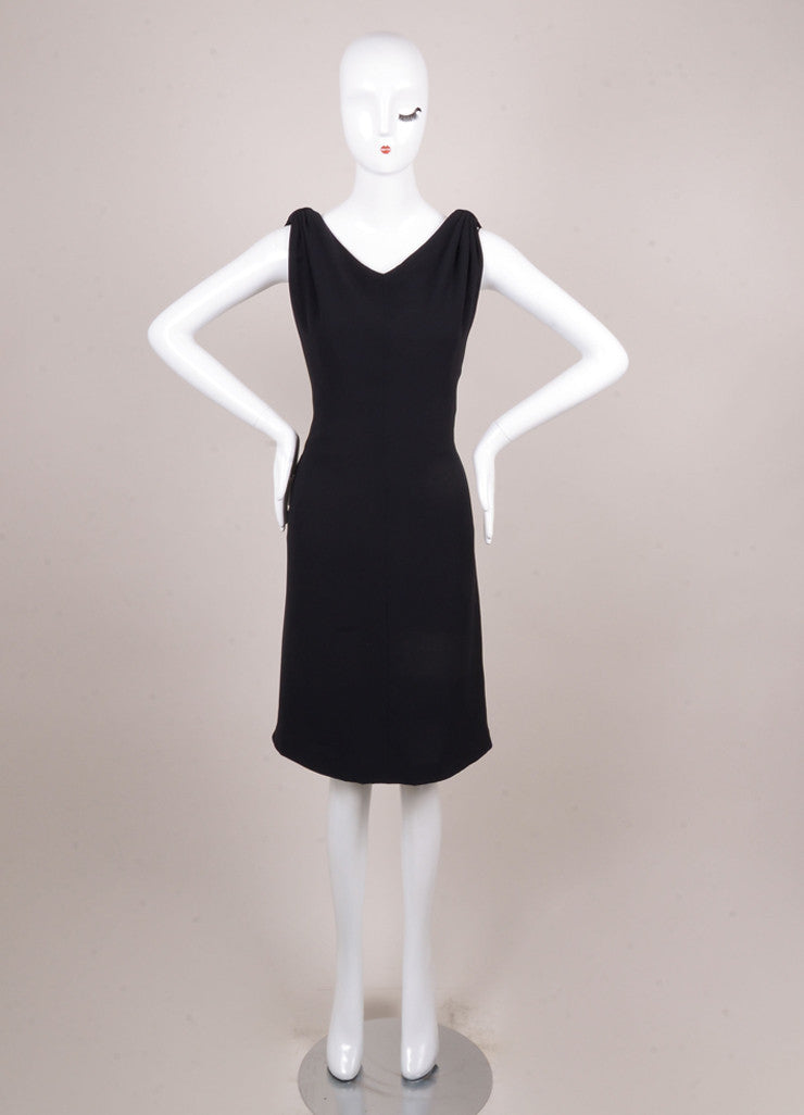 Black Silk Sleeveless Draped Dress