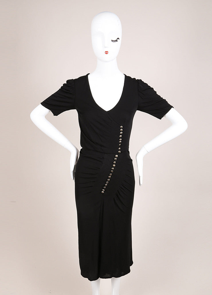 Alexander McQueen Black Jersey Button Front Ruched Short Sleeve Dress Frontview