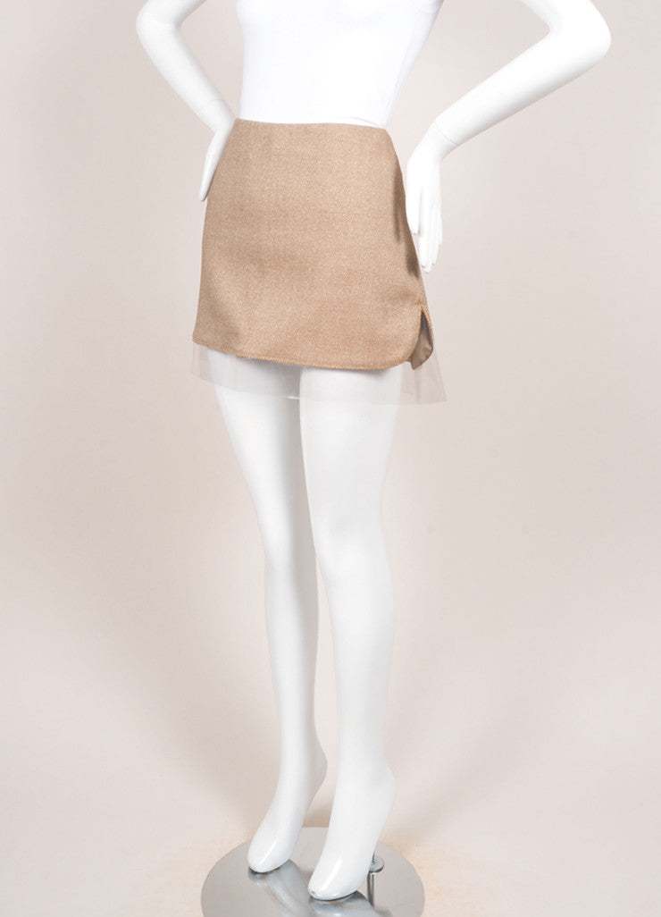 Alexander McQueen Brown and Cream Wool Gold Detail Plastic Trim Mini Skirt Sideview