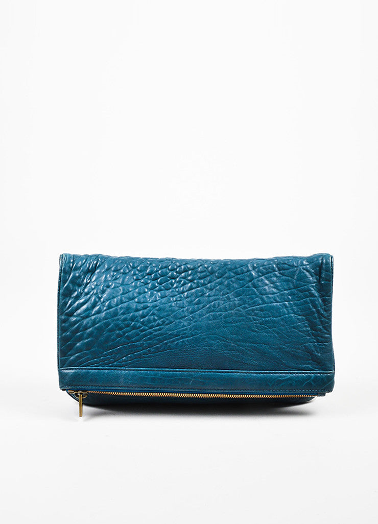 Dark Teal Blue Alexander Wang Pebble Leather Zip Foldover Clutch Bag Frontview