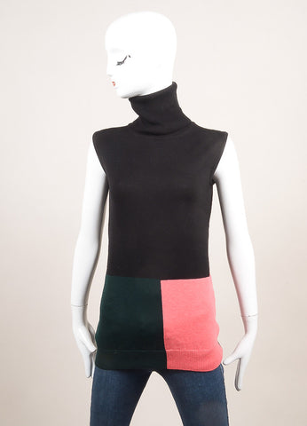 Altuzarra New With Tags Black, Pink, and Green Wool Sleeveless Turtleneck Top Frontview