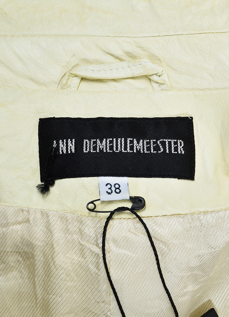 Cream Ann Demeulemeester Leather Crinkled Distressed Moto Jacket Brand