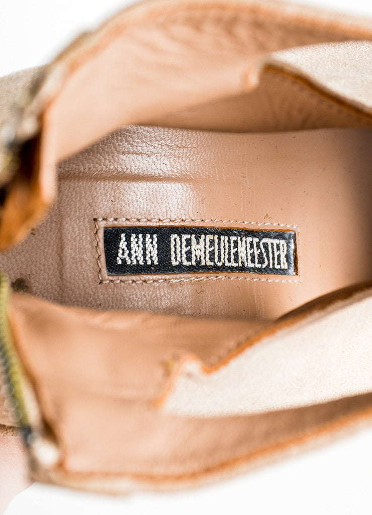 Ann Demeulemeester Tan Suede Open Toe Cut Out Structural Wedge Booties Brand
