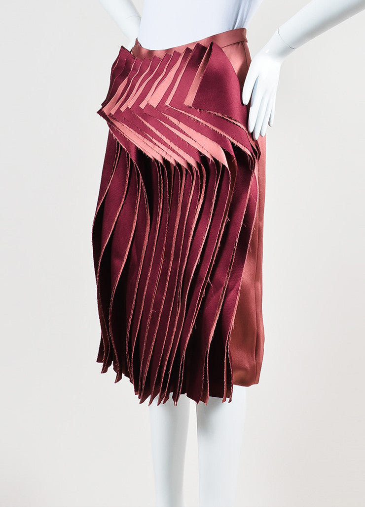 Audra Rose and Maroon Two Tone Ruffle Front Skirt Sideview