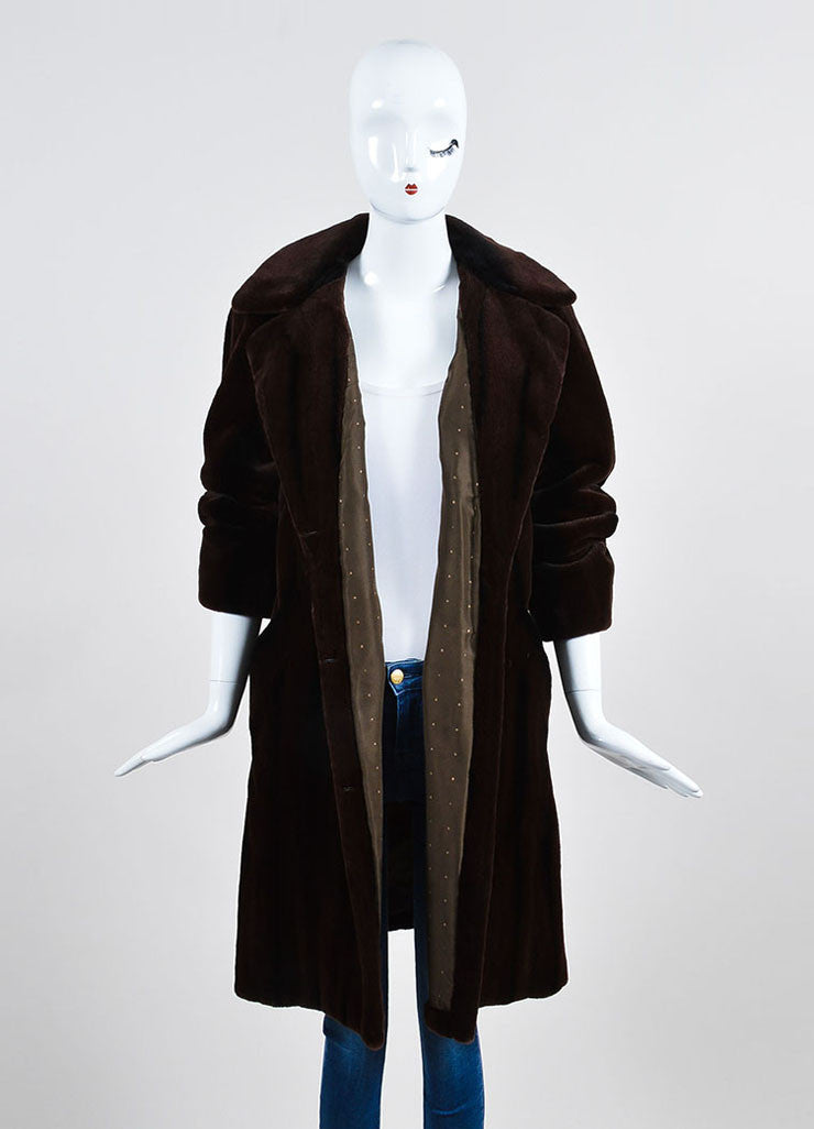 Brown and Black Bisang Fur Notch Lapel Coat Frontview