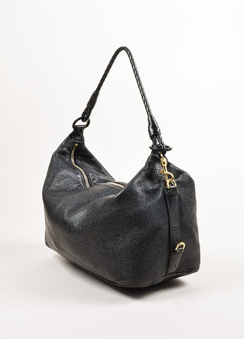 "Bottega Veneta Black Grained Leather ""Intrecciato"" Handle Small Shoulder Bag Sideview"