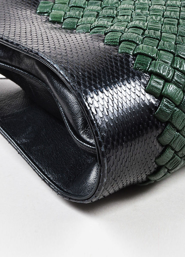 Bottega Veneta Green and Black Woven Leather Snakeskin Trim Two Compartment Handbag Detail