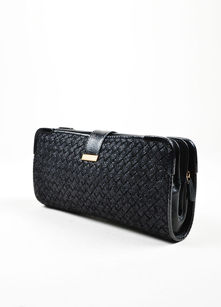 "Black Wool, Raffia, and Snakeskin Bottega Veneta Woven ""Ayers Livera"" Clutch Sideview"