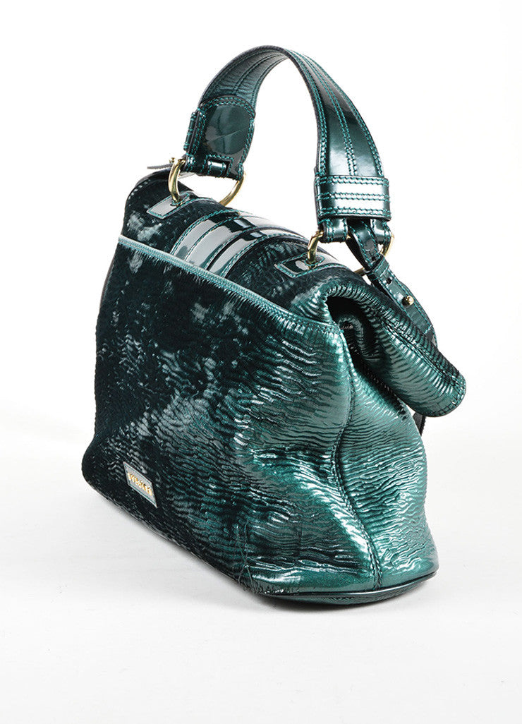 "Bulgari Green Patent Leather Ombre Textured Laser Cut ""Leoni"" Shoulder Bag Sideview"