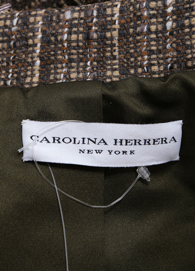 Carolina Herrera Taupe and Blue Wool Tweed Beaded Embroidered Tailored Vest Brand