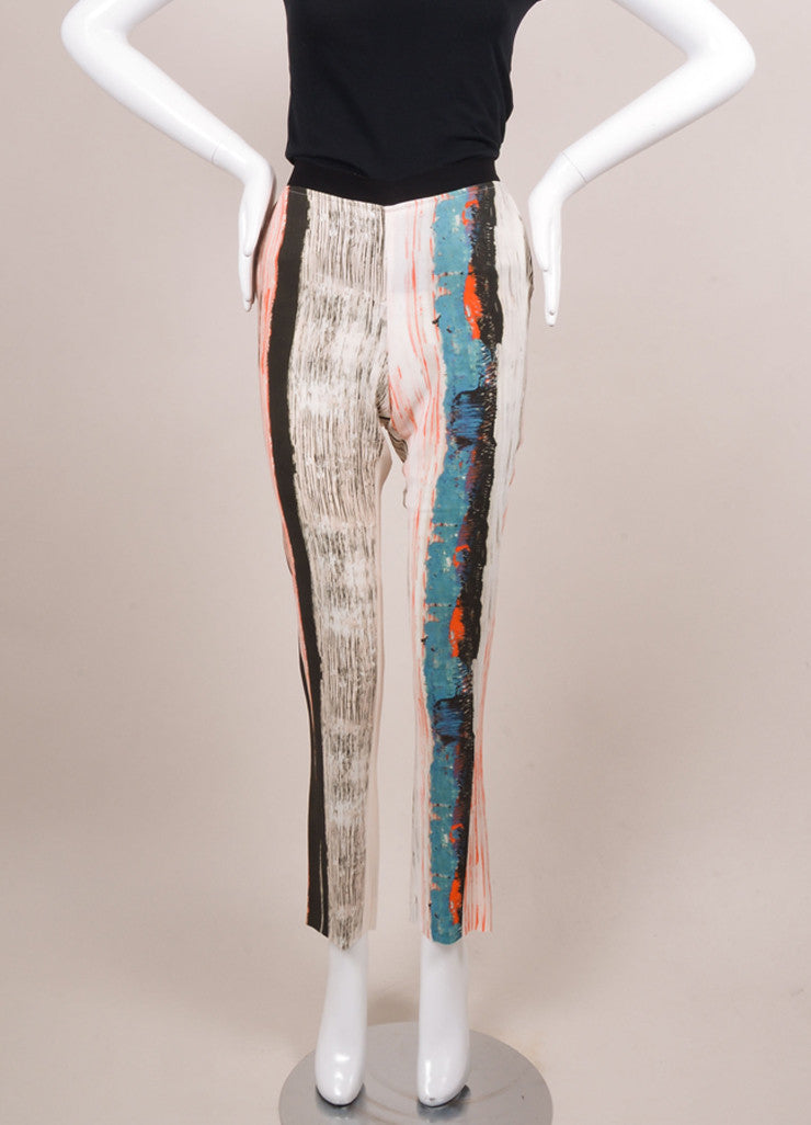 Cedric Charlier New With Tags Orange, Blue, and White Stripe Print Skinny Pants Frontview