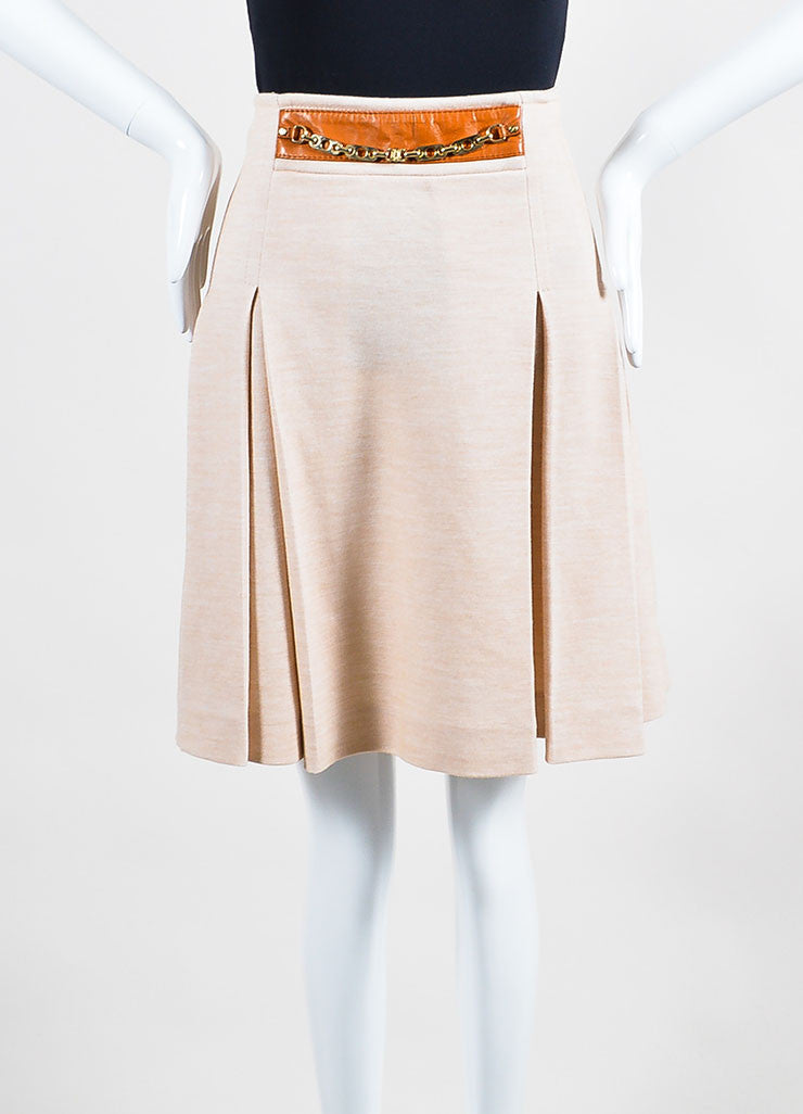 Celine Beige Khaki Tan Cotton Wool Knit Leather Accent Pleated Skirt Backview