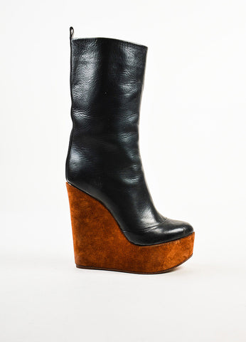 Black Celine Leather Suede Platform Wedge Mid Calf Boots Side