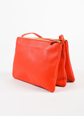 "Celine ""Alizarine"" Red Leather ""Large Trio"" Crossbody Bag Sideview"
