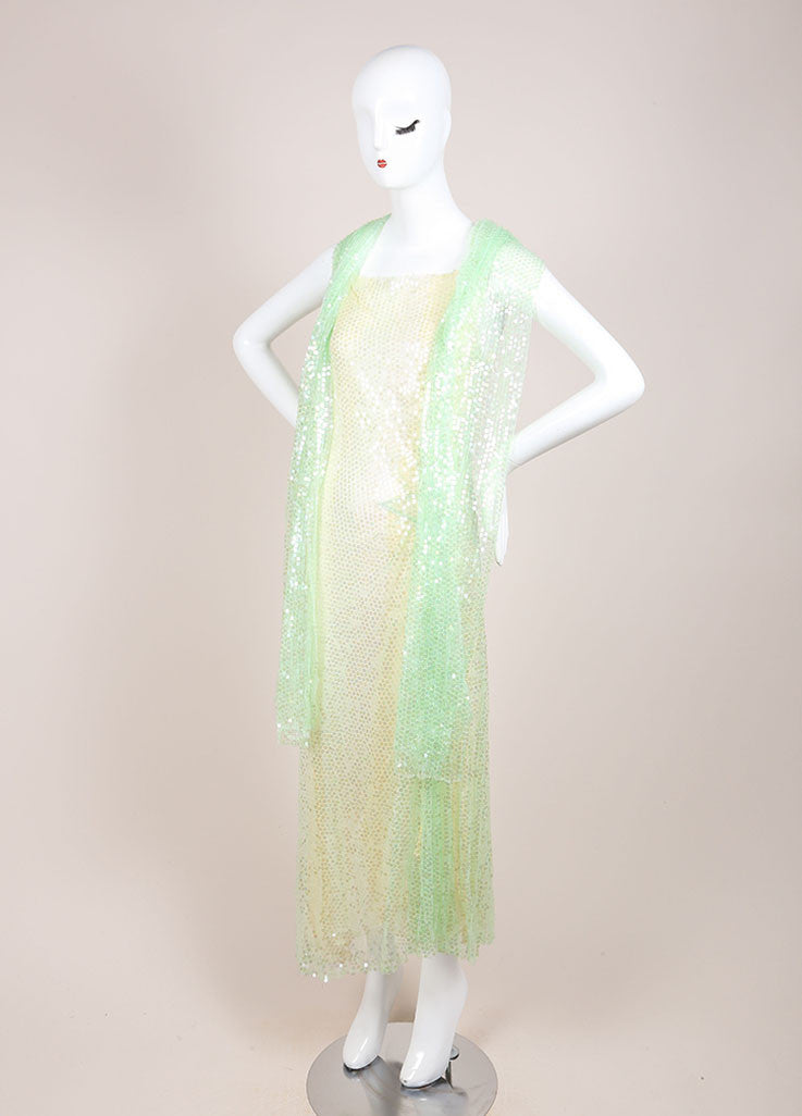 Chanel Green and Yellow Silk Sequin Embellished Shawl Detail Dress Sideview