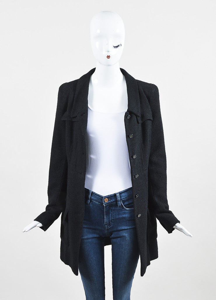 Chanel Black Textured Silk Knit Six Button Jacket  Frontview