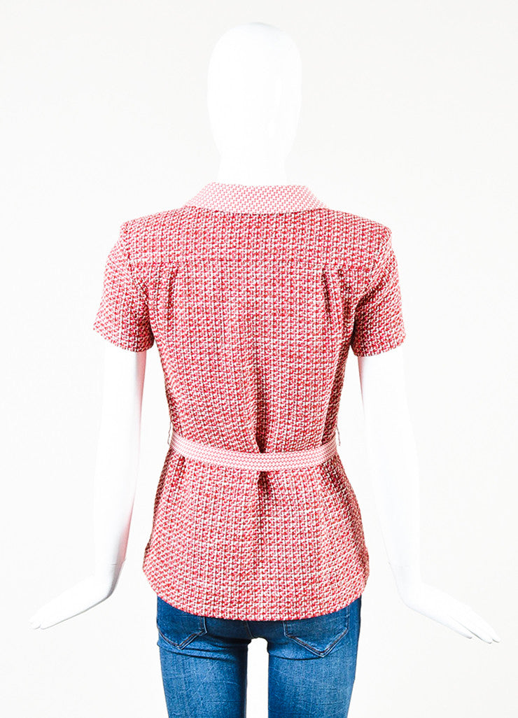 Chanel Pink Red Tweed Chevron Trim Short Sleeve Belted Jacket Back