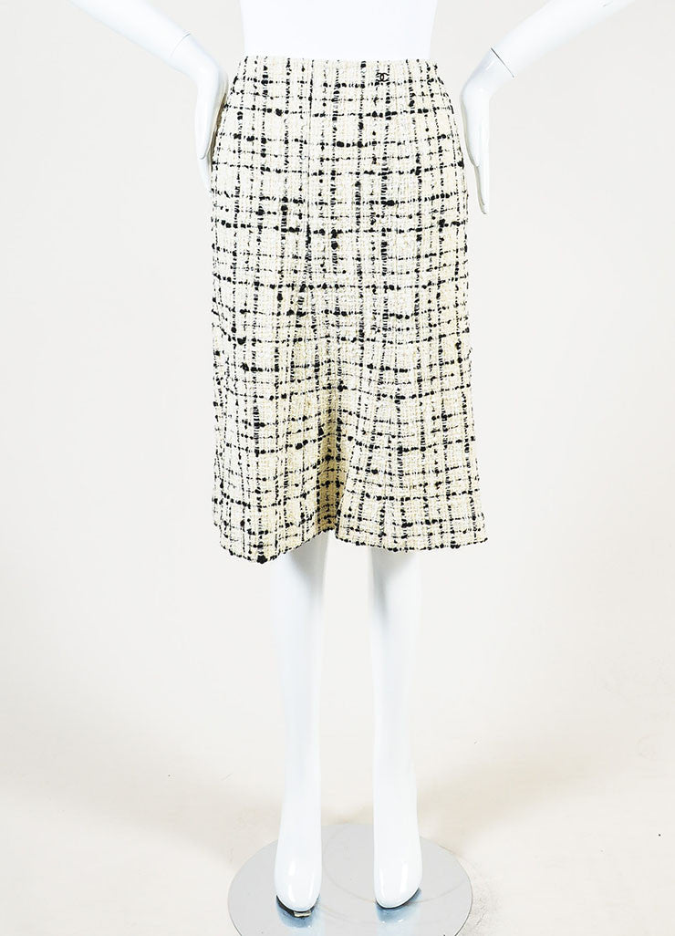 Chanel  Cream Black Check Tweed Textured Sequin A-Line Skirt  Frontview