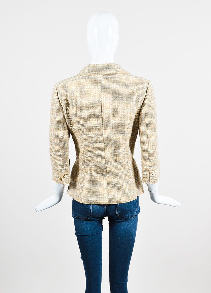 Beige and Cream Chanel Linen and Cotton Blend Tweed Jacket Backview