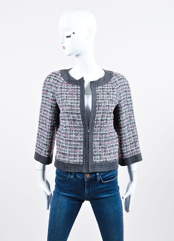 Grey and Pink Chanel 07P Tweed Knit Cropped Jacket Front