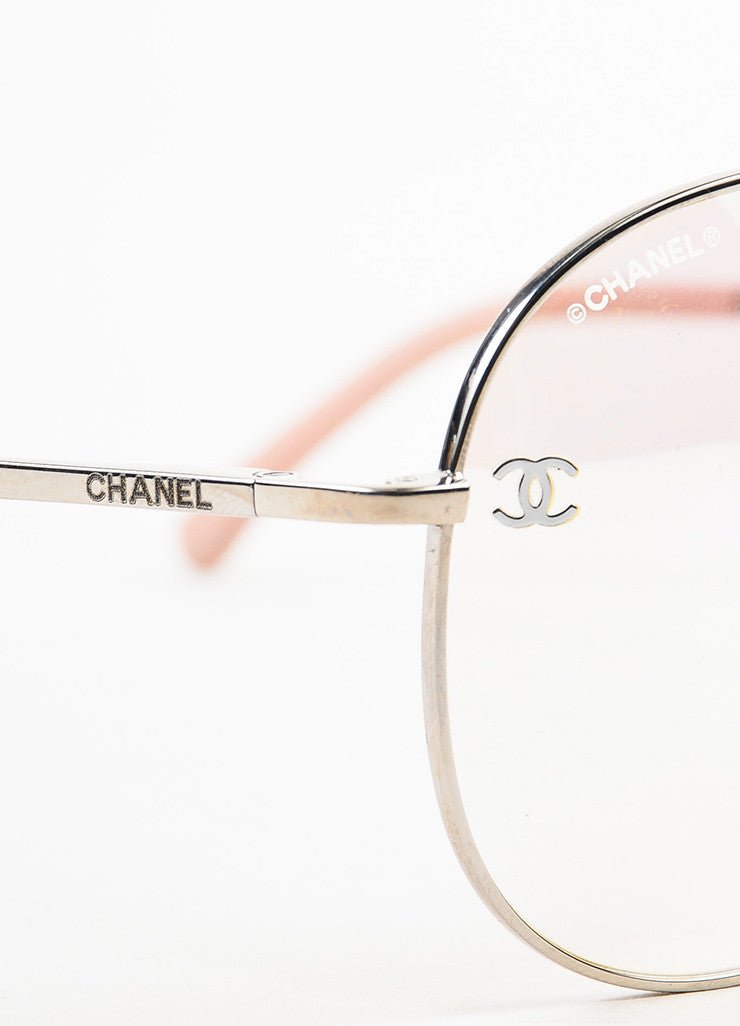 "Chanel Pink and Silver Toned Titanium ""Pilot Signature"" Mirrored Sunglasses Detail"