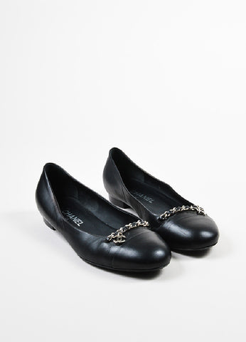Black Leather Chanel Silver Toned Chain 'CC' Logo Flats Frontview