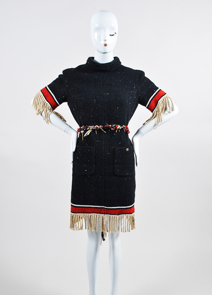 Black and Multicolor Chanel Cashmere and Silk Stripe Fringe Belted Shift Dress Frontview