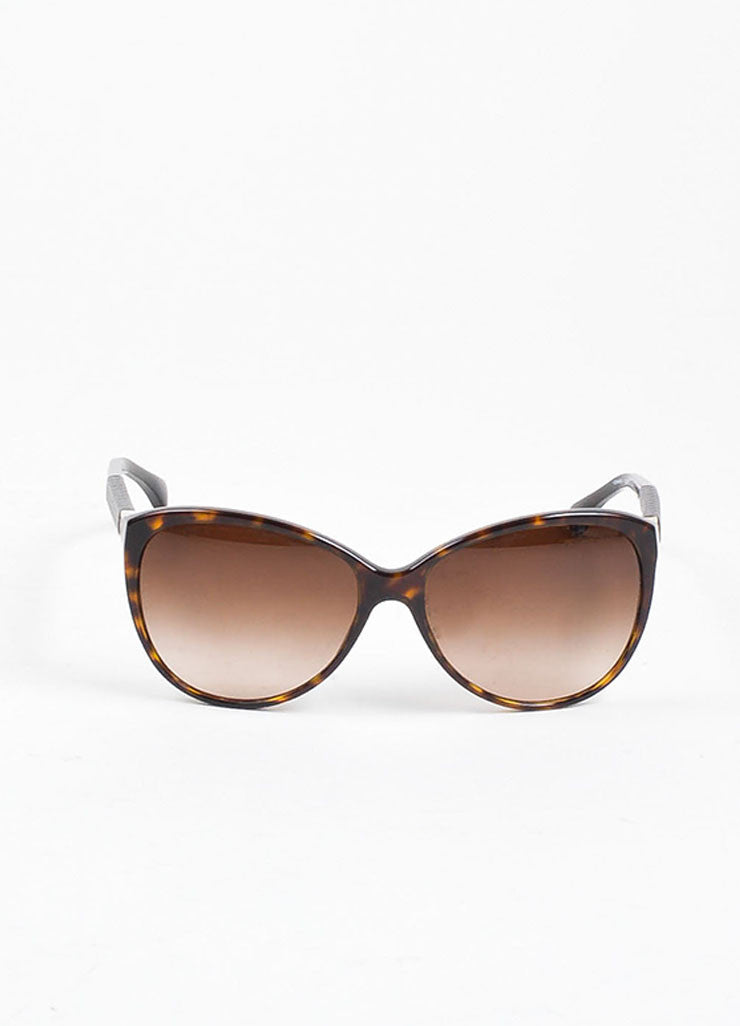 "Brown and Black Chanel Tortoise Quilted Arm ""CC"" Cat Eye Oversized Sunglasses Frontview"