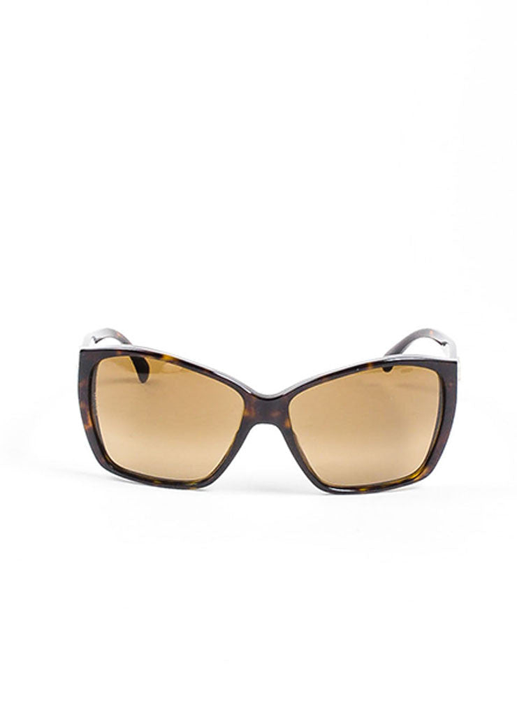 "Brown Chanel Tortoise Shell 'CC' Oversized ""5230"" Square Sunglasses Frontview"
