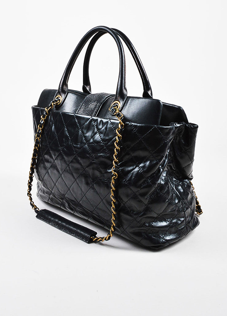 "Chanel Black Calfskin and Stingray Quilted ""Bindi"" Tote Bag Sideview"