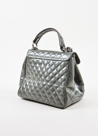 "Chanel Grey Glazed Calfskin Quilted ""Mademoiselle Kelly"" Handbag Sideview"