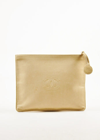 Khaki Chanel Leather Camellia 'CC' Embroidered Zip Top Clutch Bag Front