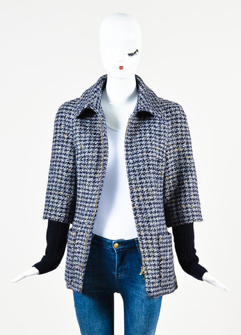 Chanel Navy Wool Silver & Gold Metallic Trim Houndstooth Collared Coat front open