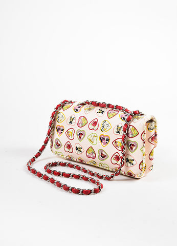 "Chanel Pink and Multicolor Leather Trim Heart Print Limited Edition ""Valentine"" Bag Sideview"