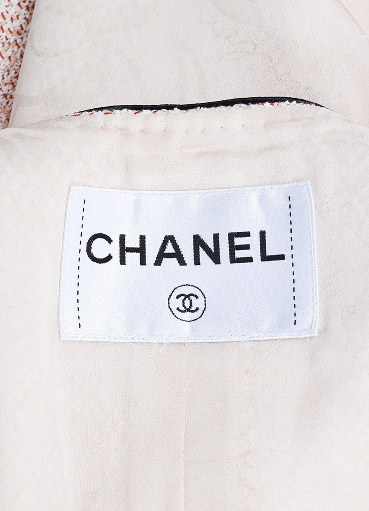 Red, White, and Beige Chanel Tweed Hammered 'CC' Button Jacket Brand
