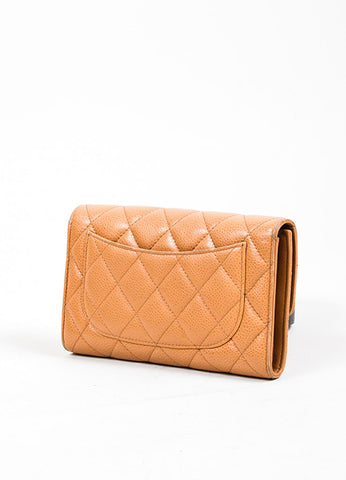 Tan Caviar Leather Quilted Chanel 'CC' Trifold Flap Wallet Sideview