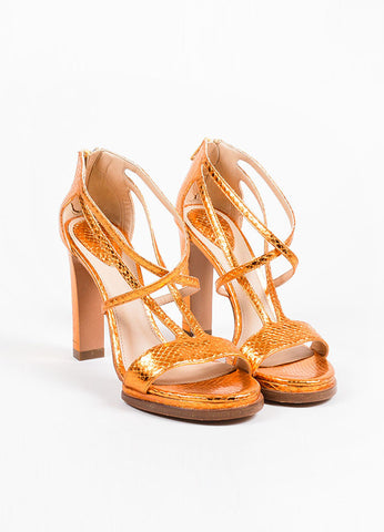 Chloe Metallic Orange Ayers Snakeskin Leather High Heel Sandals Frontview