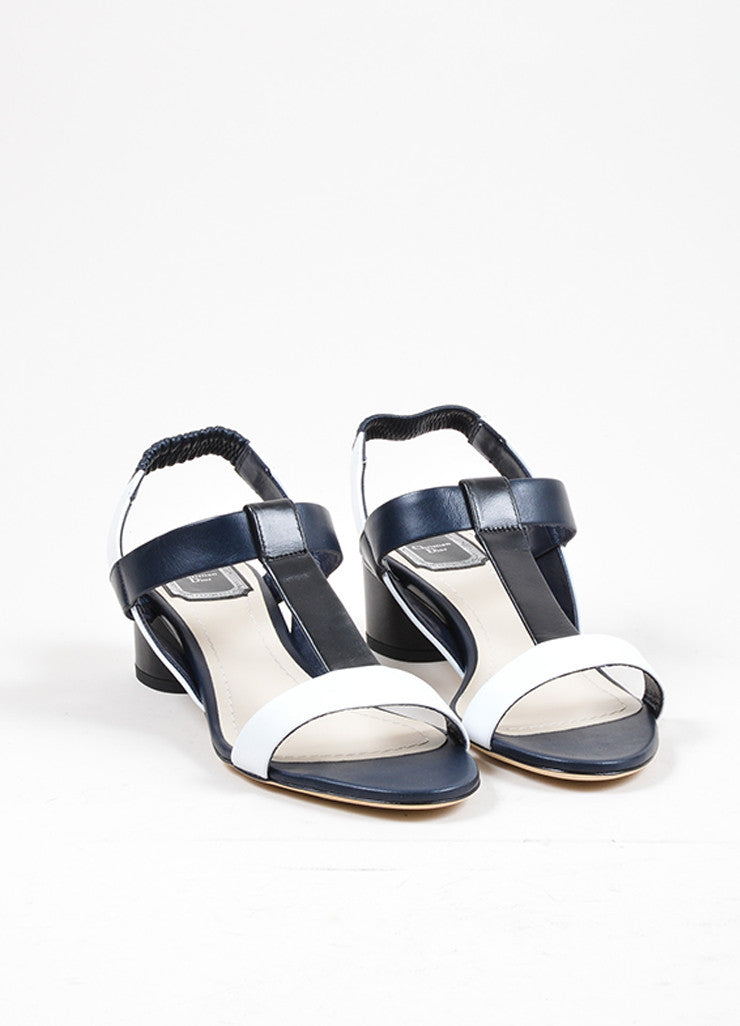 "Tricolor Christian Dior Leather Heeled T Strap ""Pulse"" Sandals Frontview"