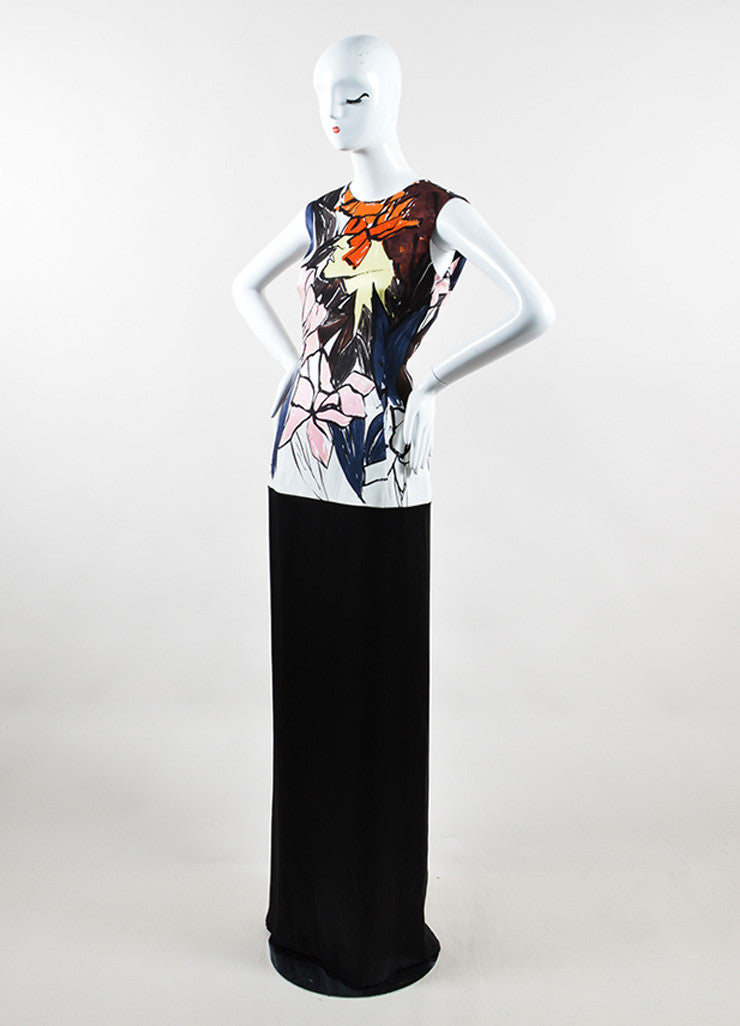 Christian Dior Black and Multicolor Silk Abstract Floral Print Gown Sideview
