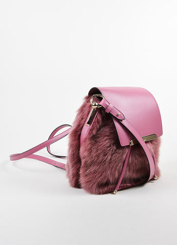 "Rose ‰ۢÌöÌÛChristian Louboutin Leather and Faux Fur ""Lucky L"" Bucket Backpack Sideview"