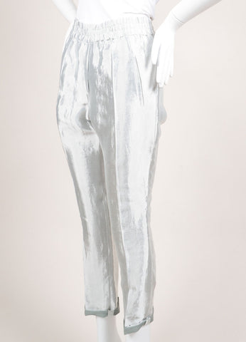"Christian Wijnants New With Tags Silver Metallic Linen Blend ""Piet"" Pants Sideview"