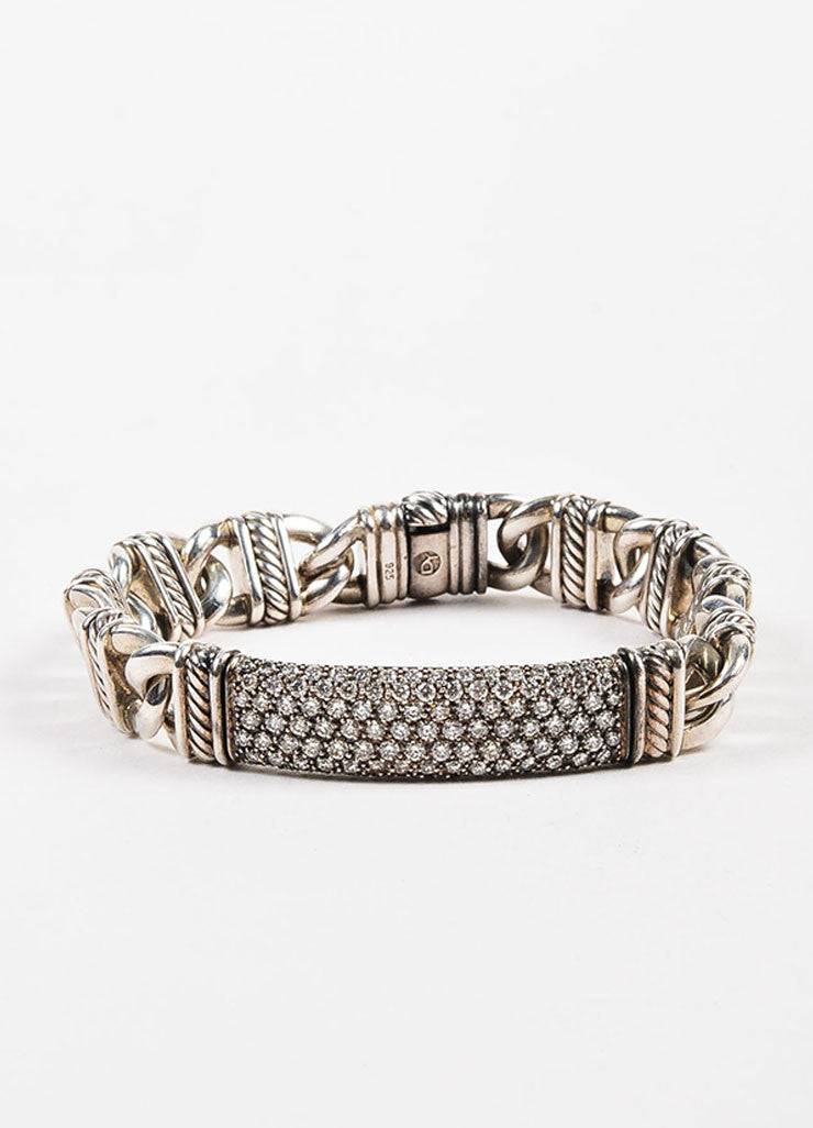 "David Yurman Sterling Silver and Pave Diamond ""Madison Cable"" ID Bracelet Frontview"