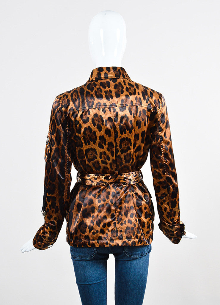 Multicolor Brown Dolce & Gabbana Leopard Print Belted Zip Nylon Jacket Backview