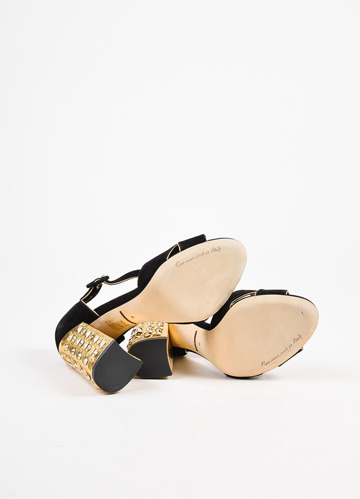 Dolce & Gabbana Black and Metallic Gold Suede Studded Heel Sandals Outsoles