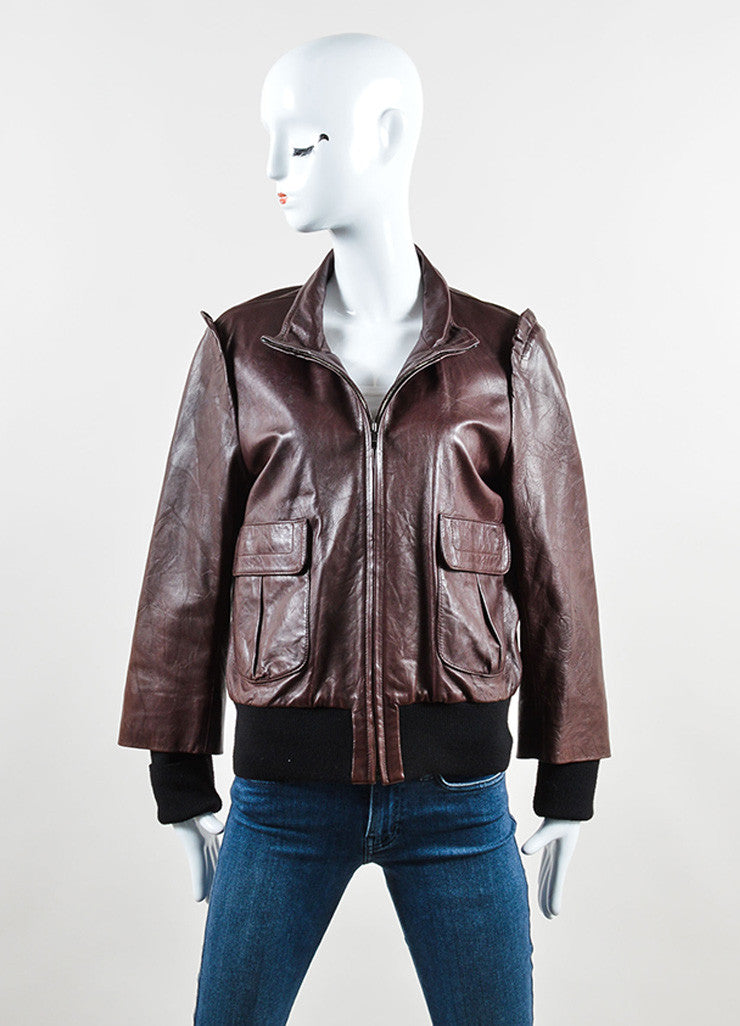 Fendi Oxblood and Black Leather and Knit Ruffled Bomber Jacket Frontview