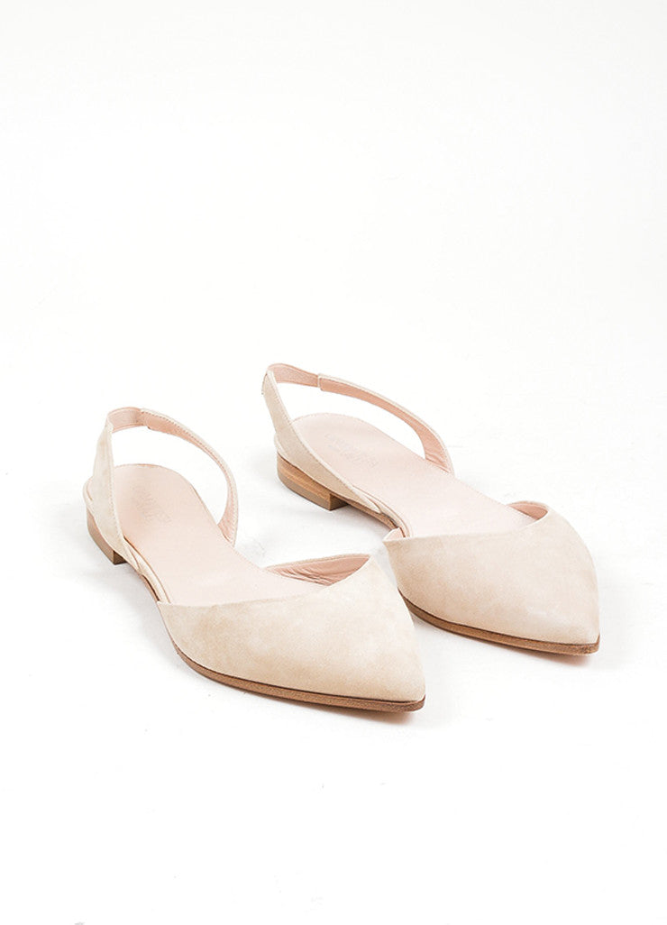 Nude Giambattista Valli Suede Pointed Slingback Flats Frontview