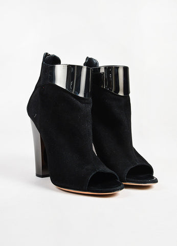 Giuseppe Zanotti Black Suede Metal Trim Peep Toe Heeled Ankle Boots Frontview