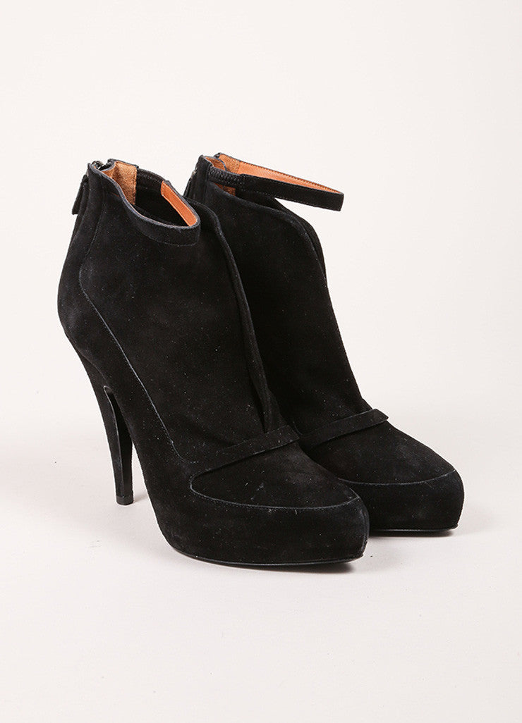Givenchy Black Suede Ankle Strap Platform Booties Frontview