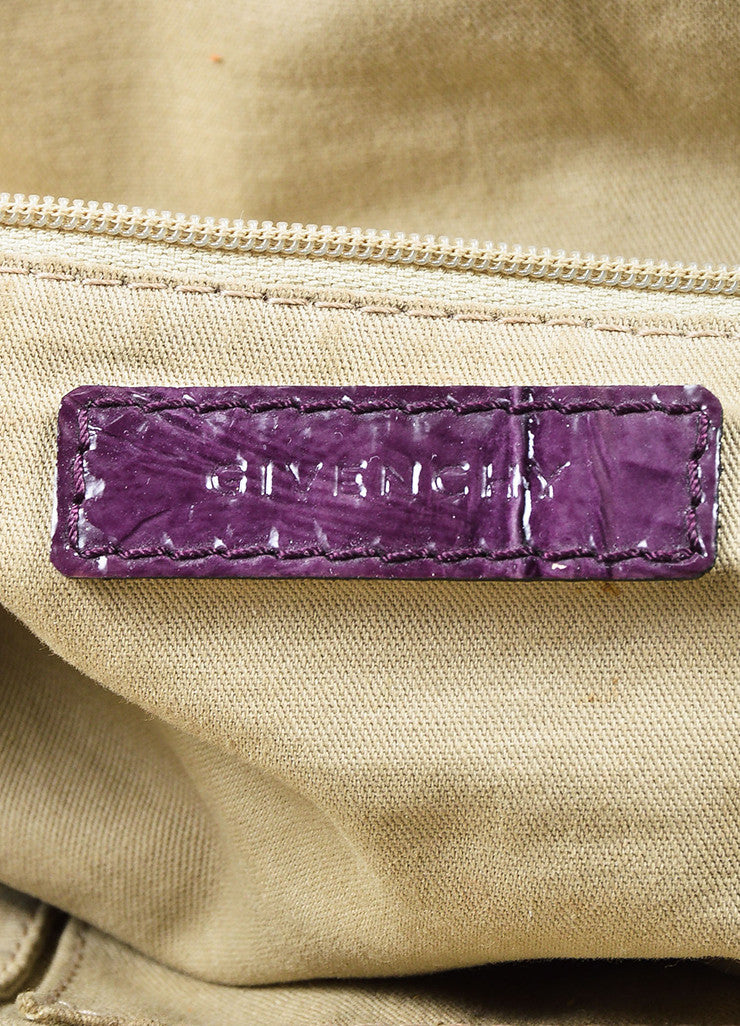 "Givenchy Eggplant Crinkled Patent Leather ""Nightingale"" Satchel Bag Brand"
